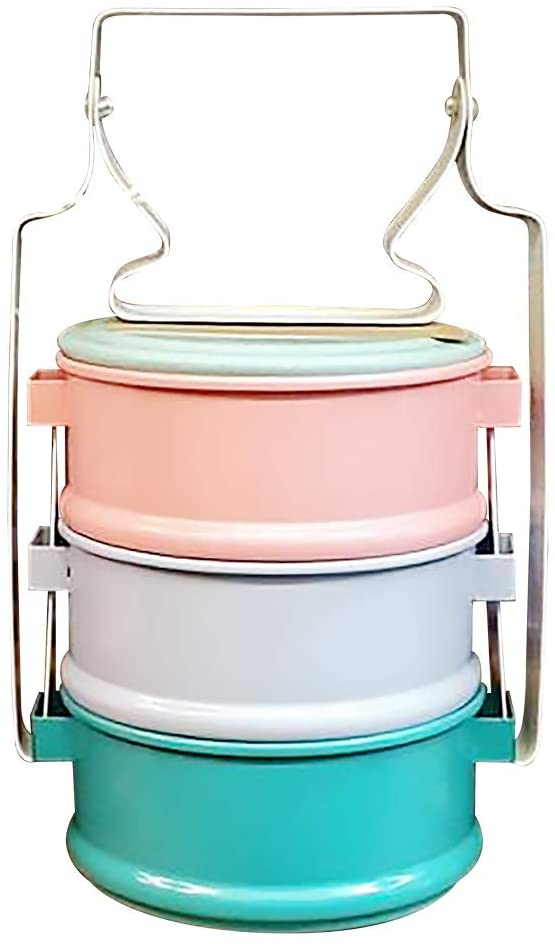 Thai Enamelware Colors Tone Lunch Box 3 Tier Thai Product Kitchen Home