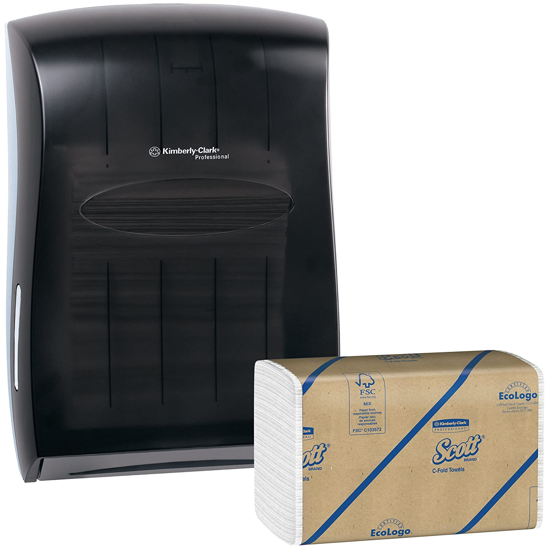 Kimberly Clark Paper Towel Dispenser (Black) with 12 Packs of 200 Scott C Fold Paper Towels (2,400 Towels)