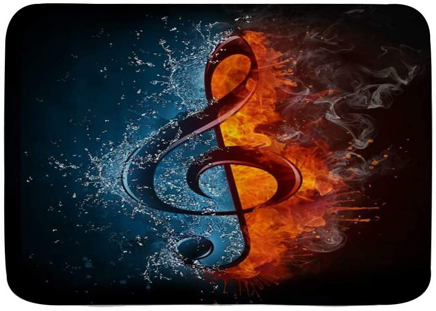 WINCAN Bath Mat Rug,Burning Music Note Illustration of The Treble Clef in Fire and Water Abstract Musical Symbol,Plush Bathroom Decor Mats with Non Slip Backing,29.5