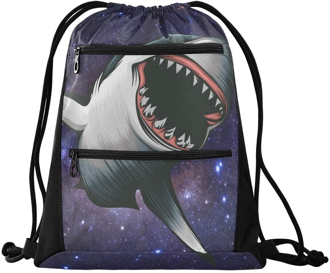 Drawstring Bag Galaxy Shark Lightweight Cinch Bag for Hiking Yoga Gym Swimming Travel Beach with Zipper Mesh Pockets