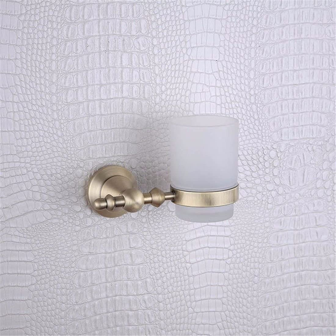 AiRobin-Continental Brass Antique Round Base Wall Mounted Toothbrush Cup Holder Bathroom Accessory