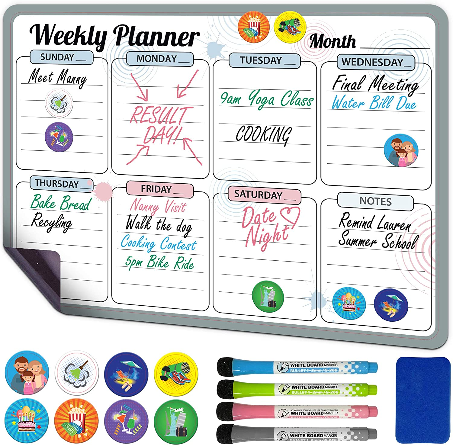 """Magnetic Dry Erase Calendar for Fridge Weekly 17 x 12"""" - Magnetic Calendar for Refrigerator - Whiteboard Calendar with 8 Event Magnets and 4 Markers - Magnetic Whiteboard Calendar for Refrigerator"""