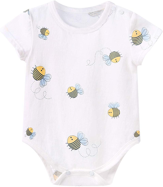 pureborn Baby Boys Bodysuit Short Sleeve Cute Cotton Onesie Outfit 0-24 Months