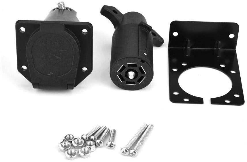 Davitu Cables, Adapters & Sockets - 7 Pin Car Trailer Plug Socket Bracket Set Adapter Connector Towing Plug for Caravan Towbar Towing 12V