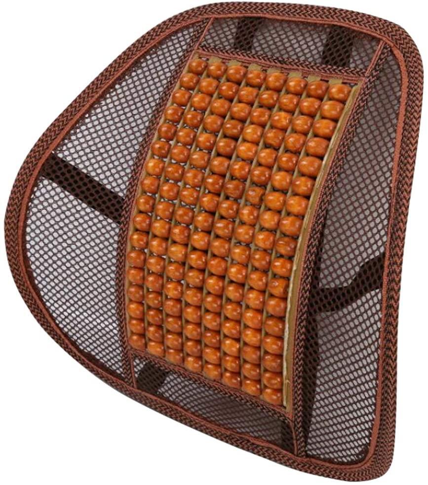 LKXHarleya Lumbar Support Wooden Beaded Comfort Massage Mesh Back Cushion for Car Seat, Home Office Chair, Orange