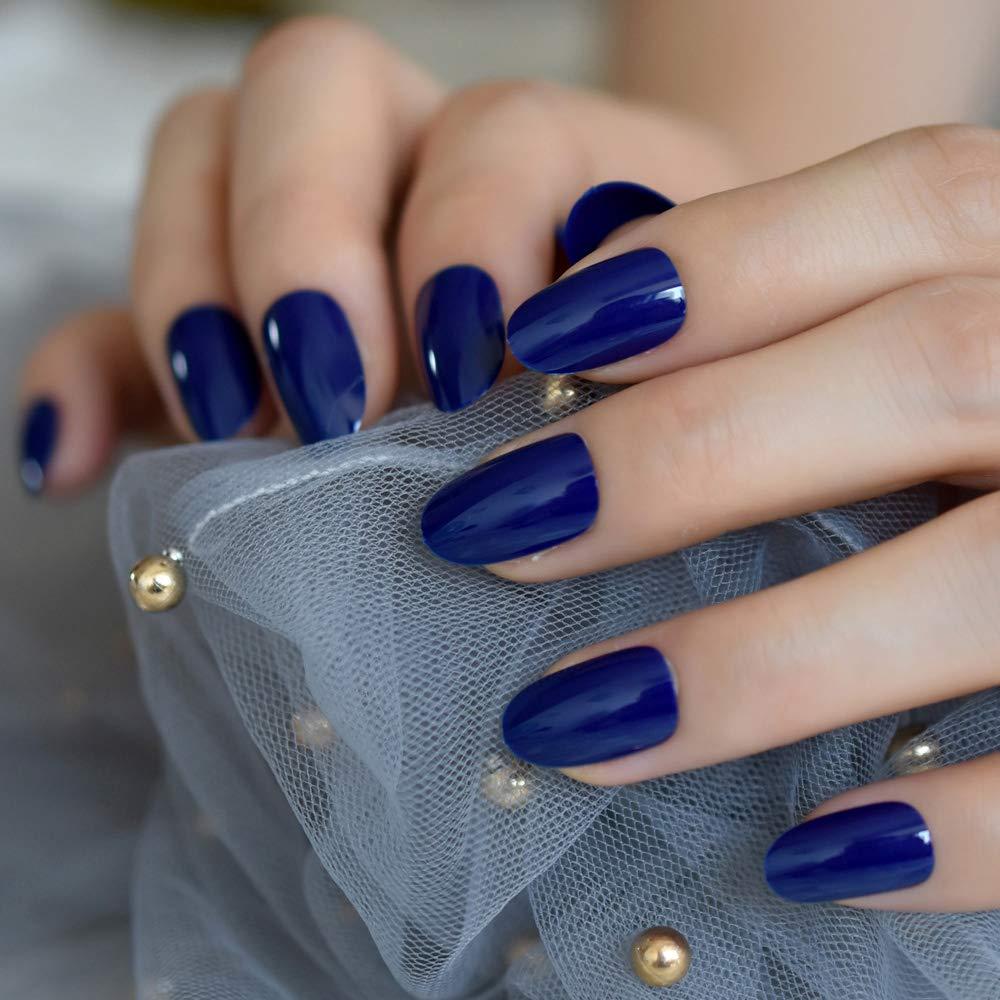 UV Gel Small Fake Nails Diamond Blue Glossy Polish Cover Designed Nail Artificial Tips with Adhesive Tabs 24 pcs