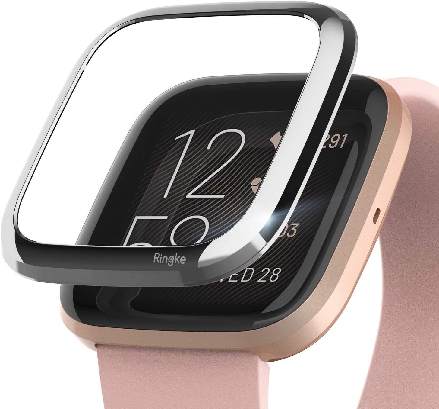 Ringke Bezel Styling Case Designed for Fitbit Versa 2 Full Stainless Steel Metal Frame Smartwatch Case Accessory - Silver (2-01 ST) Modern Glossy Design