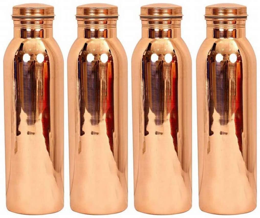 Set of 4 Handmade Joint free Leak Proof Copper Thermos water Each Volume 1000 ML Travel Bottle with Lid for Good 1000 ml Bottle (Pack of 4, Brown)