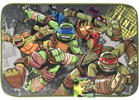 Teenage Mutant Ninja Turtles TMNT Foam Bath Rug / Bathroom Floor Mat, 20 X 30 Inches (51 X 76 Centimeters). Features Michelangelo (Orange), Leonardo (Blue), Donatello (Purple), and Raphael (Red).