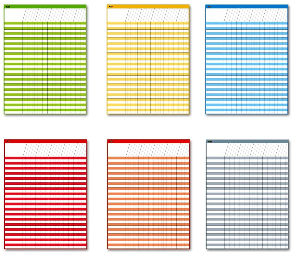 Dry Erase Incentive Chart/Chore/Responsibility/School Attendance/Homework Progress Tracking Chart, 6 Pack in Multi-Color, 36 Rows X 25 Columns (17