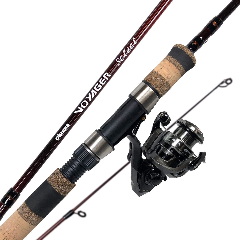 Okuma Fishing Tackle Voyager Select Travel Kit Spinning Combo, Merlot