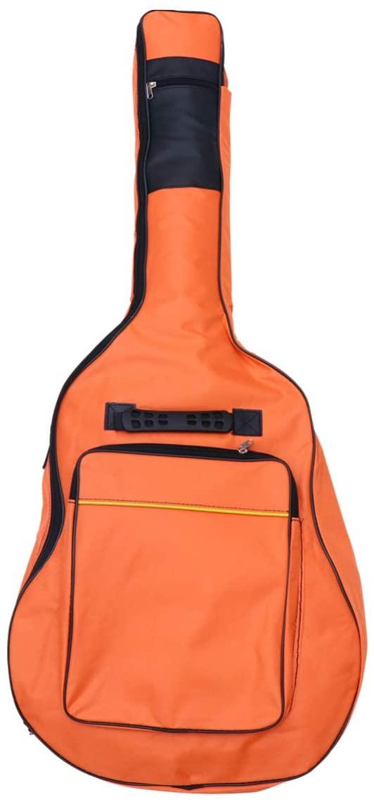 EXCEART 40/41 Inch Acoustic Guitar Bag Adjustable Oxford Cloth Guitar Case Gig Bag Waterproof Backpack (Orange)