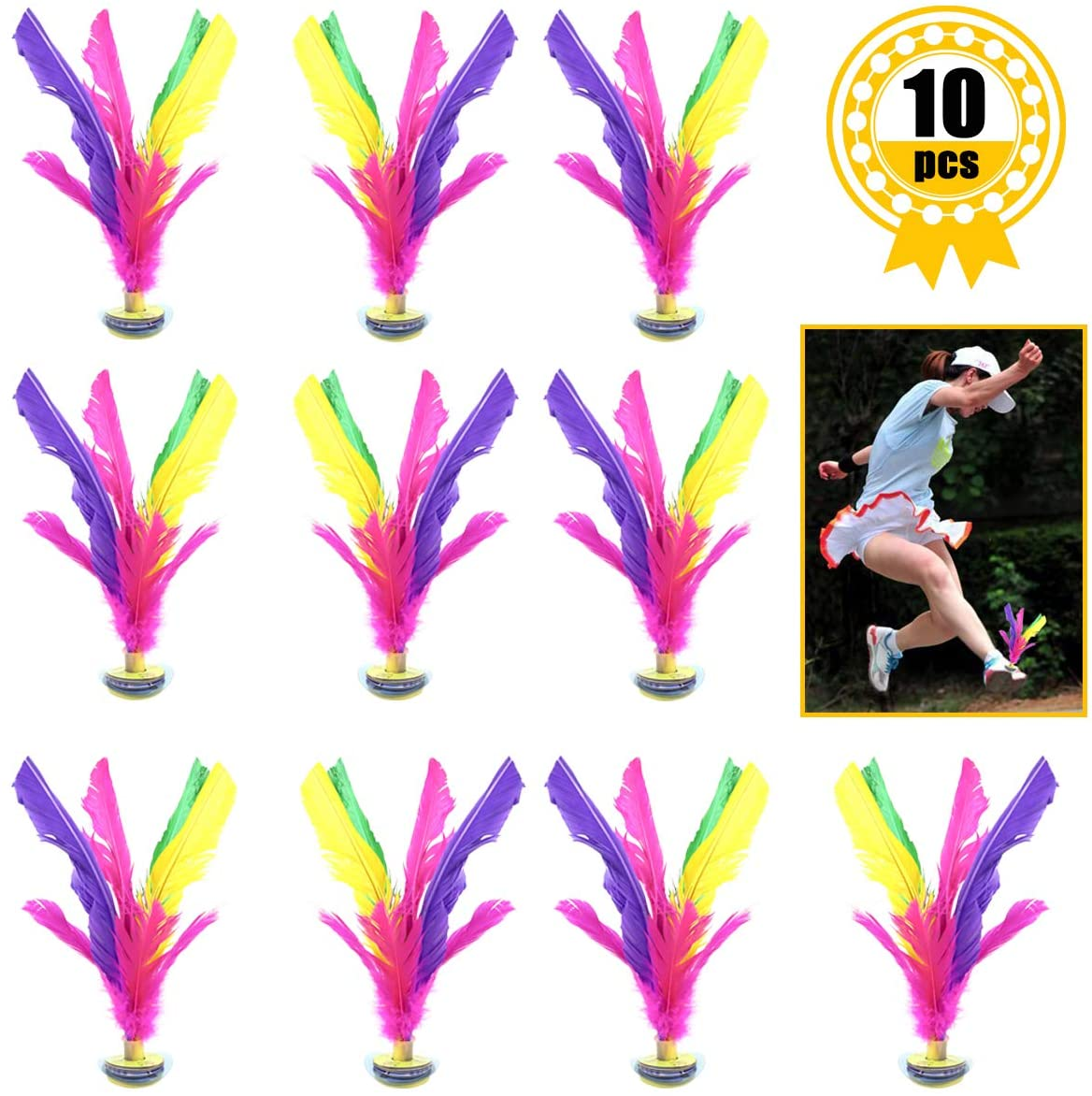YG_Oline 10 Pack Colorful Kick Shuttlecock Chinese Jianzi, 8 inch Foot Sport Outdoor Toy for Improving Leg Muscle Strength and Body Flexibility