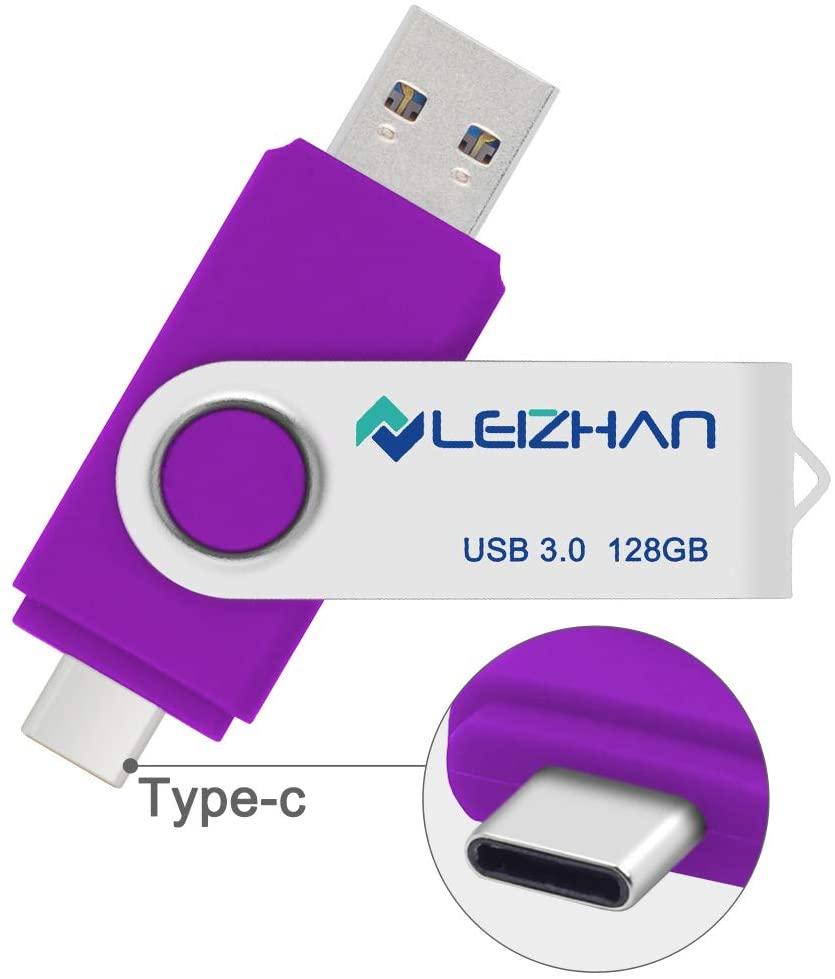 leizhan 128 gb USB Flash Drive USB 3.0 Type C Phone Picture Stick for Samsung Galaxy S10+, S10e, S10,S9, Note 9, S8, S8 Plus,Google Pixel XL Thumb Drive, Purple
