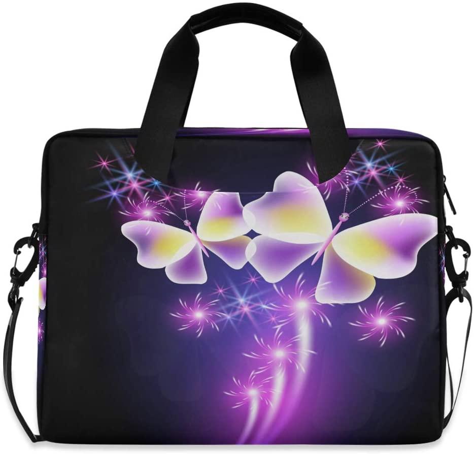Glowing Butterflies with Sparkle Stars Laptop Bag Protective Case Computer Messenger Briefcase Women Men 16