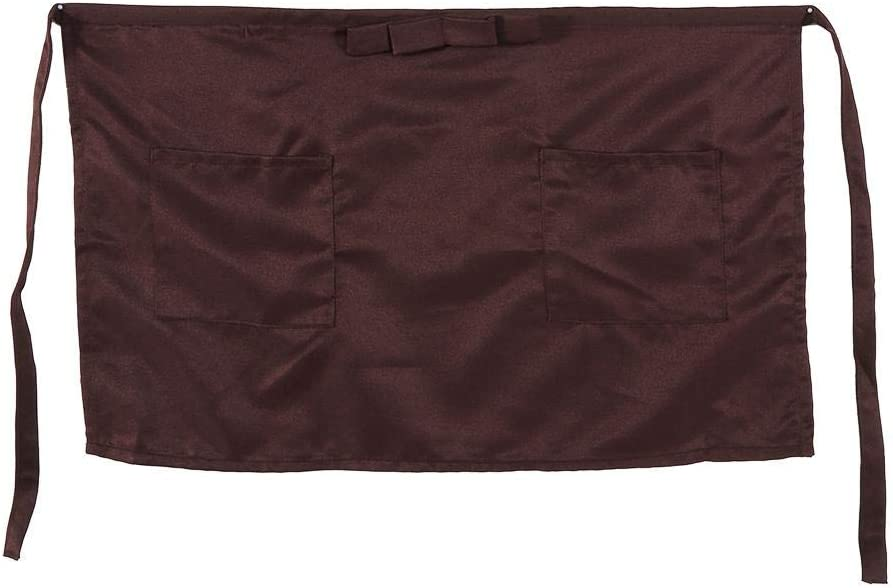 Apron, 7 Solid Colors Half-Length Polyerter Apron for Waiter Waitress with Bowknot Type Pockets(coffee)