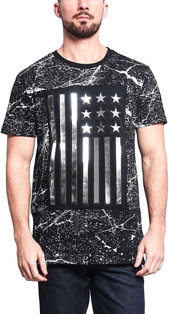 Metallic Paint Splattered/3D Animal Logo Long Length Curved Hem T-Shirt