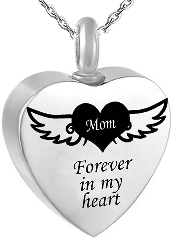 JewelryPal Forever in My Heart Love Angel Wings Stainless Steel Necklace Memorial Pendant
