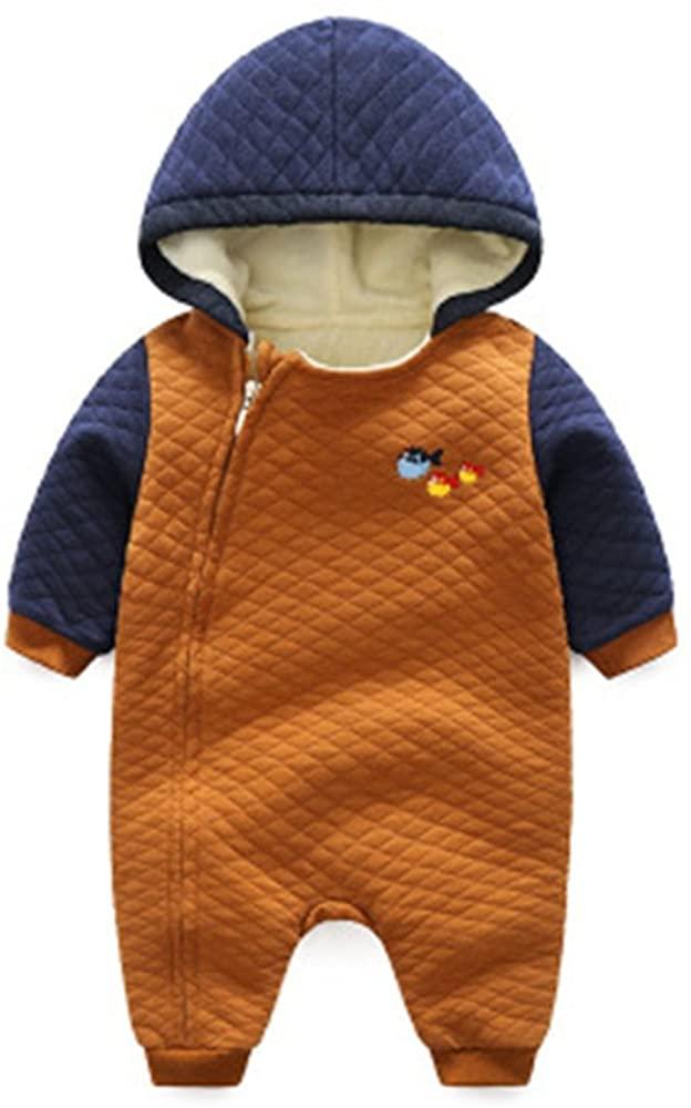 TOPJ Winter Warm Baby Boys Girls Zipper Hooded Romper Jumpsuit Baby Outerwear Clothing