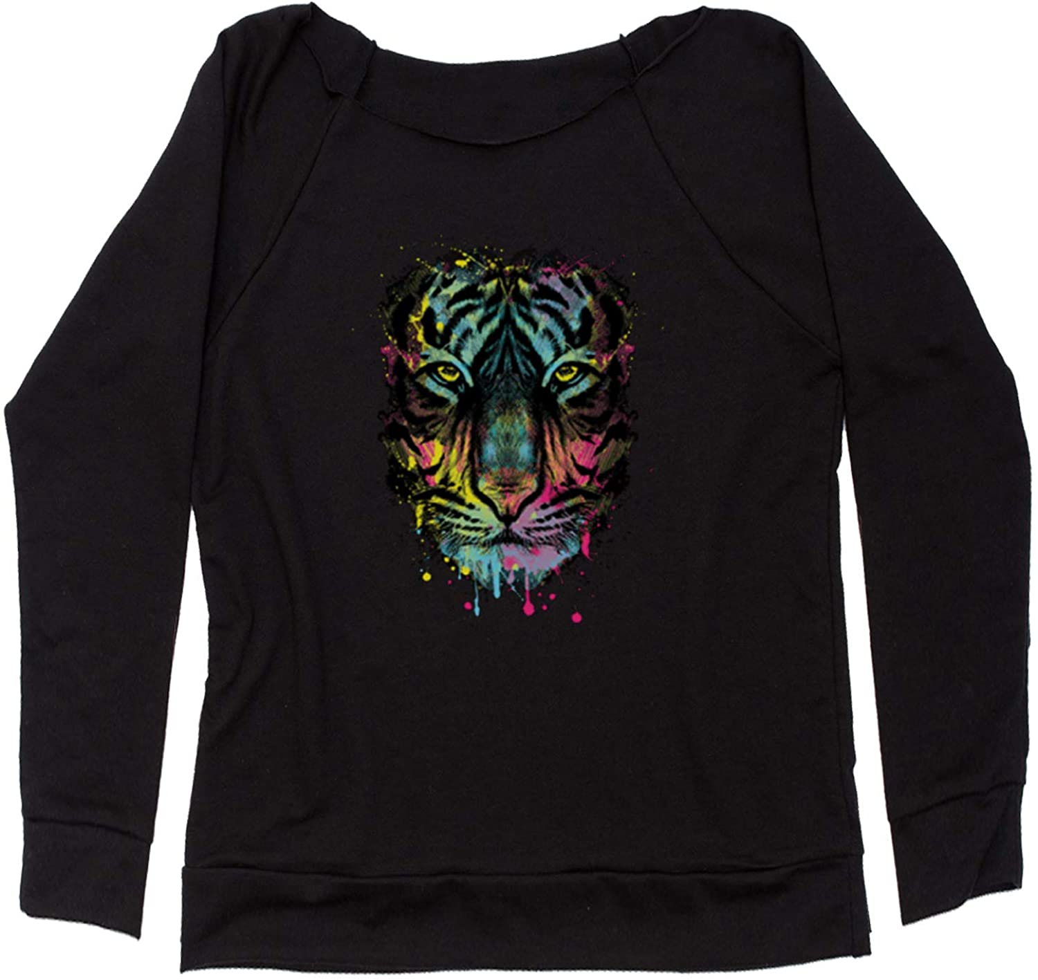 Expression Tees Neon Tiger Head Off Shoulder Sweatshirt