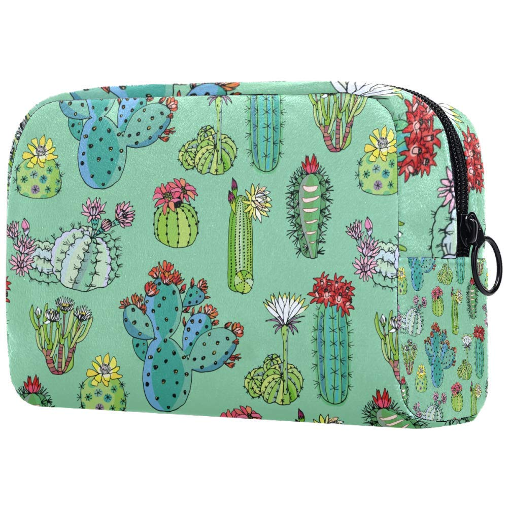 Cacti With Blossom Flowers Cactus Pattern Makeup Bags Portable Tote Cosmetics Bag Travel Cosmetic Organizer Toiletry Bag Make-up Cases for Women