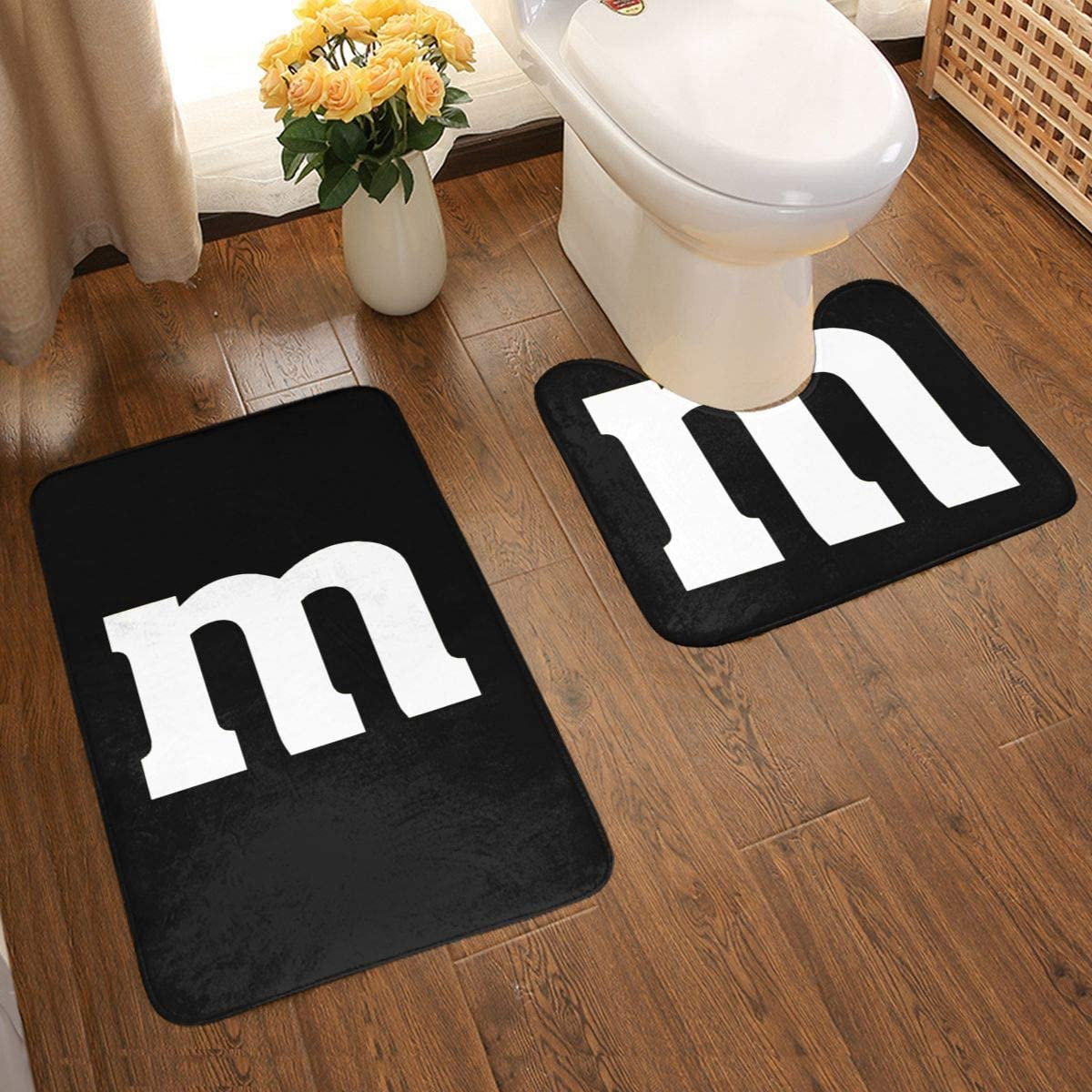 1763 Colorful M Candy Halloween Two Sets of Bathroom Mats (50x80cm)