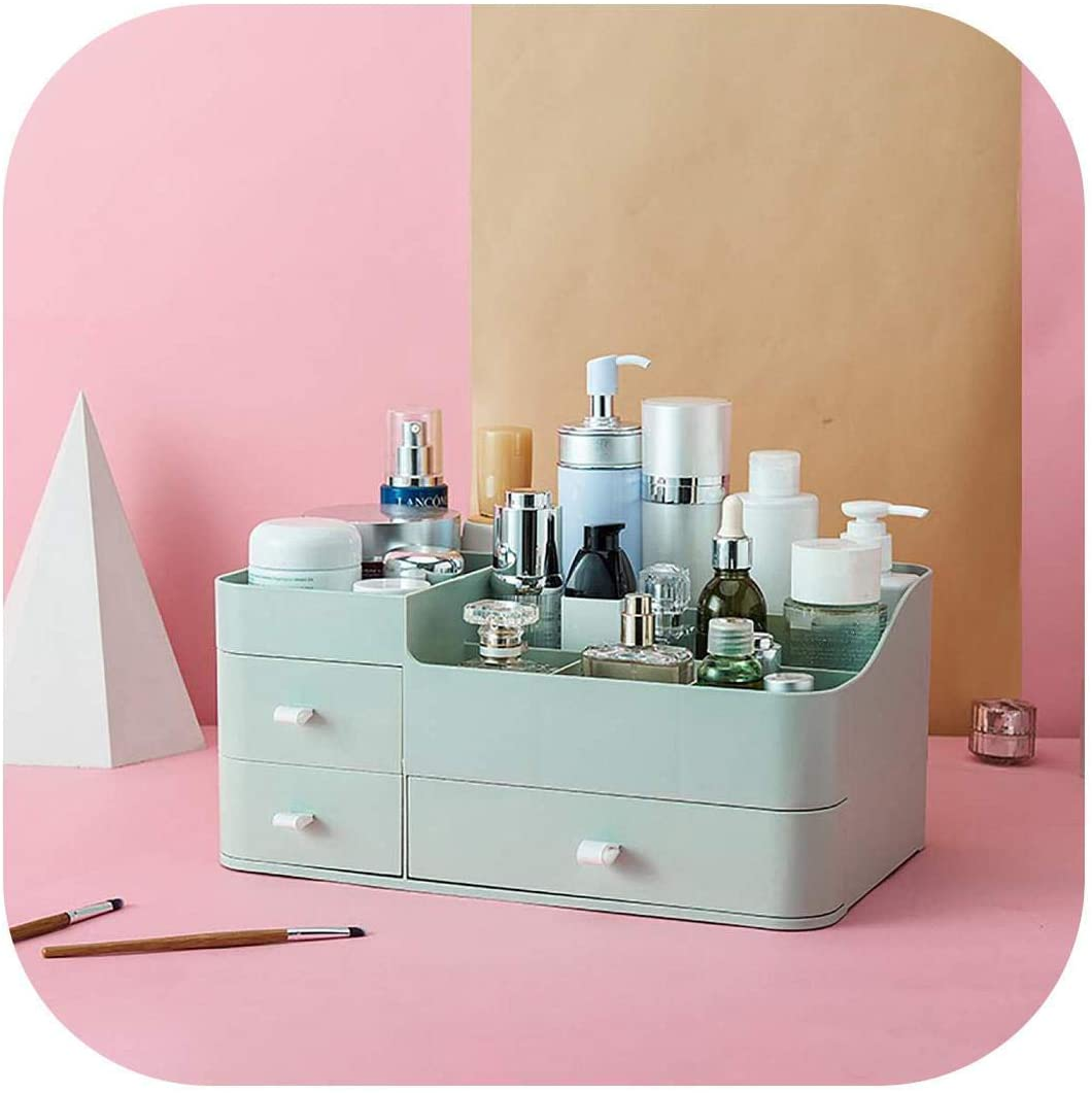 ASDF Plastic Makeup Organizer| Large Capacity Cosmetic Storage Box Drawer Makeup Organizer Dressing Table Skin Care Rack House Container Phone Sundries-Deep Blue-,Size:Size,Colour:Green