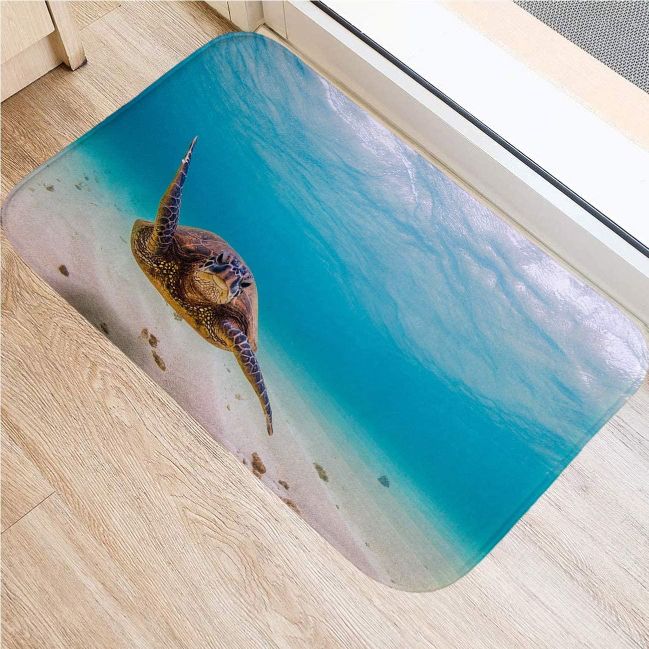 Y Heathfit Sea Turtle Outdoor Carpet,Boat Carpet,Bathroom Mats,Bath Mats for Bathroom Tub,Hawaiian Green Sea Turtle,Indoor Outdoor Kitchen Floor Carpet Front Door Mat,18x47 in
