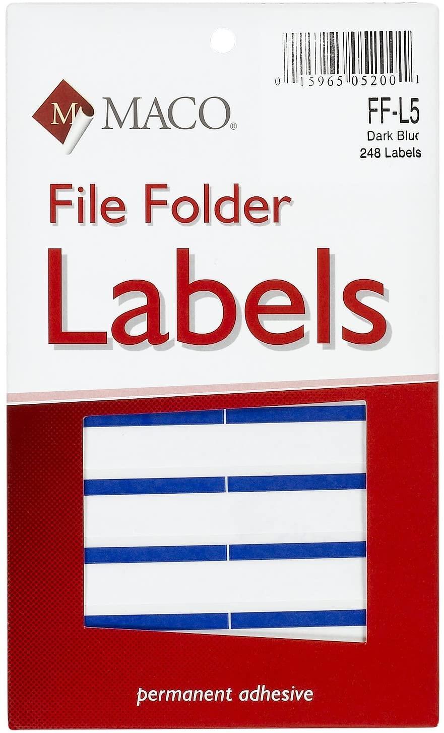 MACO Dark Blue File Folder Labels, 9/16 x 3-7/16 Inches, 248 Per Box (FF-L5)