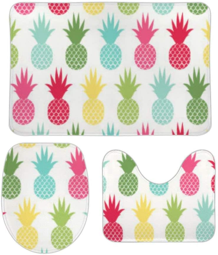 Yilooom 3 Pack Bath Mat Set, Colorful Tropical Pineapple Pattern Absorbent Memory Foam Soft Shower Bath Rugs Contour Mat and Lid Cover,Non Slip Velvet Bathrug,Shower Toilet Bathmats Carpet
