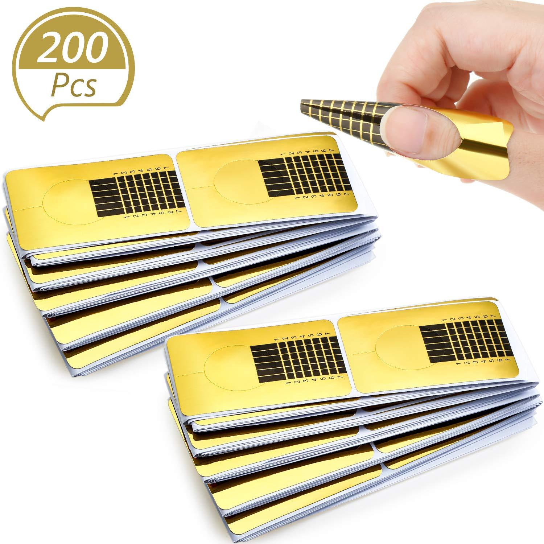 200 Pieces Form Guide Stickers Nail Extension Tips Self-Adhesive Art Nail Tips French DIY Tool UV Gel Tools for Women Girls Nail DIY Supplies Nail Salon at Home (Gold)