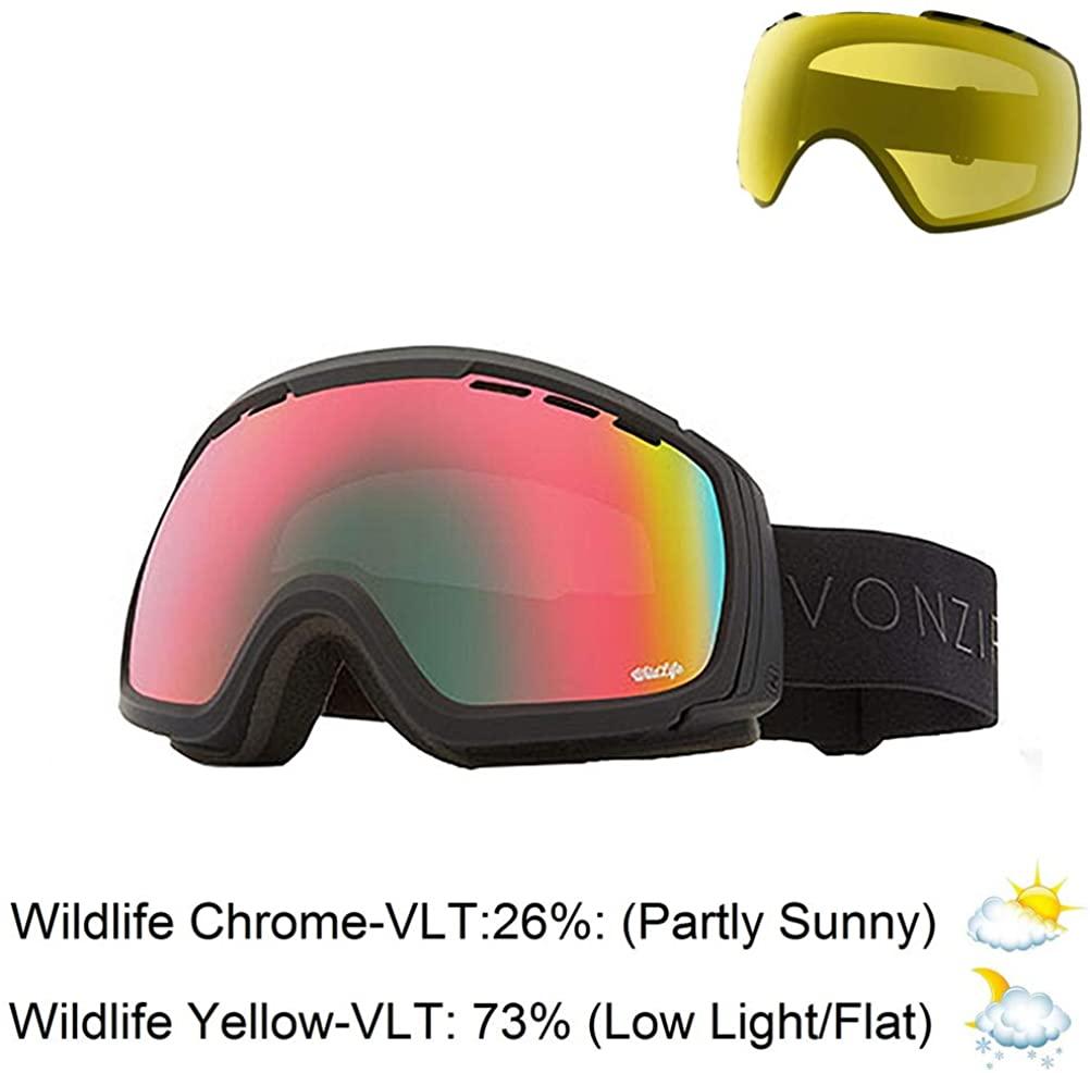 Vonzipper Feenom NLS Adult Snowmobile Goggles - Black Satin/Wildlife Chrome/One Size