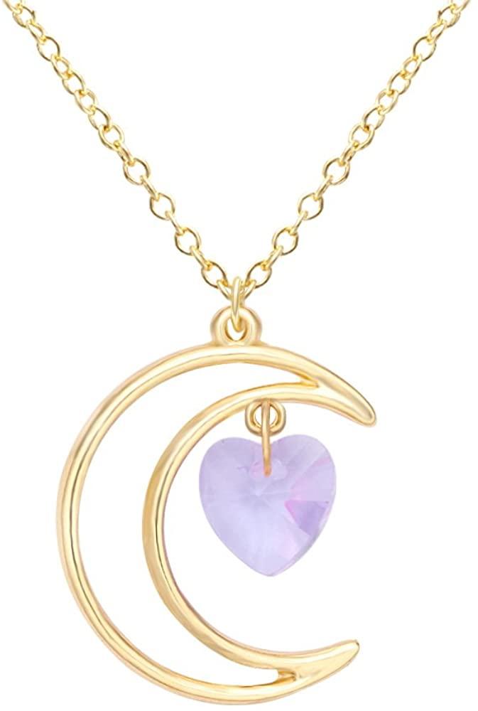 SENFAI Irish Crescent Half Moon Love Crystal Heart Pendant Necklace 4 Color Tone (Gold Purple)