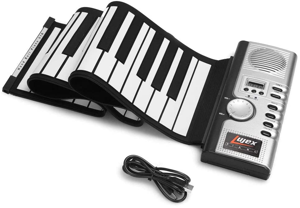Lujex 61 Keys Roll Up Piano Upgraded Portable Rechargeable Electronic Hand Roll Piano with Environmental Silicone Piano Keyboard for Beginners