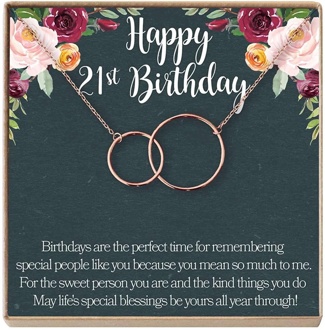 Dear Ava 21st Birthday Gift Necklace: Birthday Gift, Jewlery Gift for Her, 2 Interlocking Circles