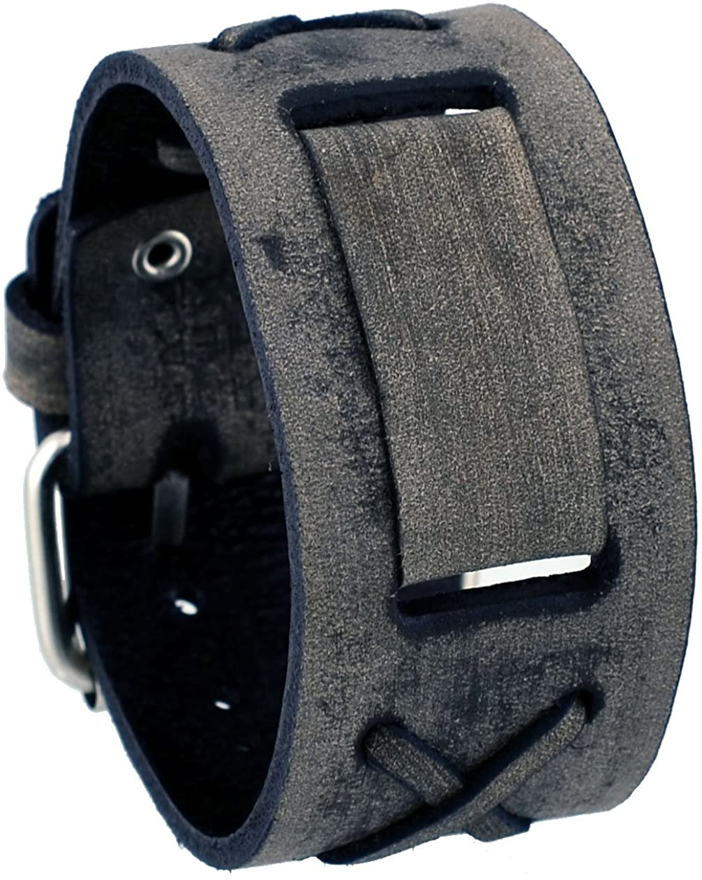 Nemesis #FXB-KL Washed Charcoal 39mm Wide 20mm Lug Width Wide Leather Watch Cuff Band