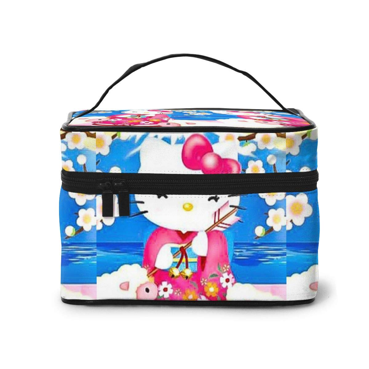 Makeup Bag, Kimono Hello Kitty Travel Portable Cosmetic Bag Large Pouch Mesh Brush Organizer Toiletry Bag for Women Girls
