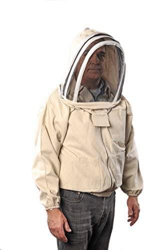 Forest Beekeeping Canvas Jacket with Fencing Veil Hood, Professional Premium Beekeeper Jackets (XL)