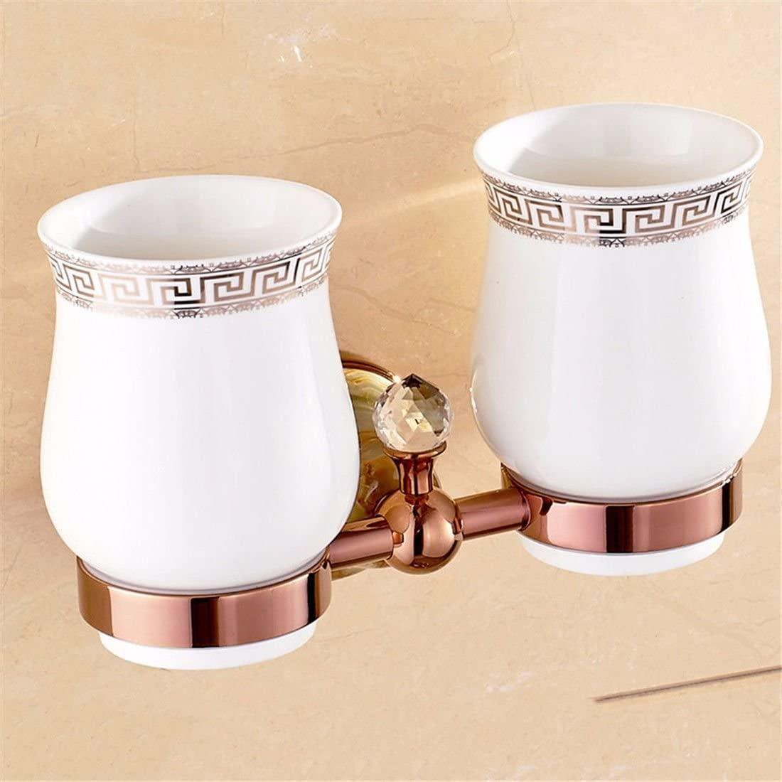 AiRobin-Brass Jade Wall Mounted Toothbrush Cup Holder Bathroom Accessory