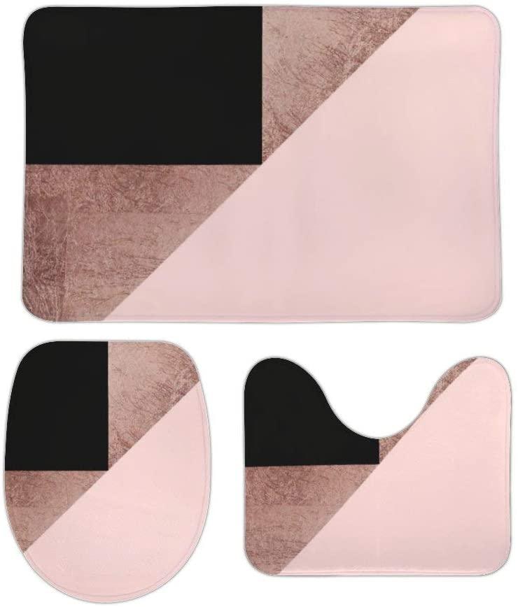 Rose Gold Black Blush Pink Geometric 3 Piece Bathroom Rug Set Bath Mat Shower Rug, U Shaped Contour Mat, Lid Cover Non-Slip with Rubber Backing for Tub Shower Bath Room 16