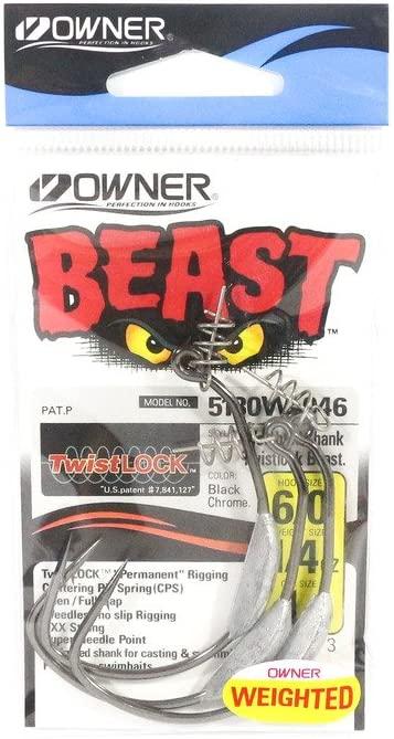 Owner Unisex's Beast 5132 Twistlock Hooks, Black Chrome, 6/0-3 per Packet