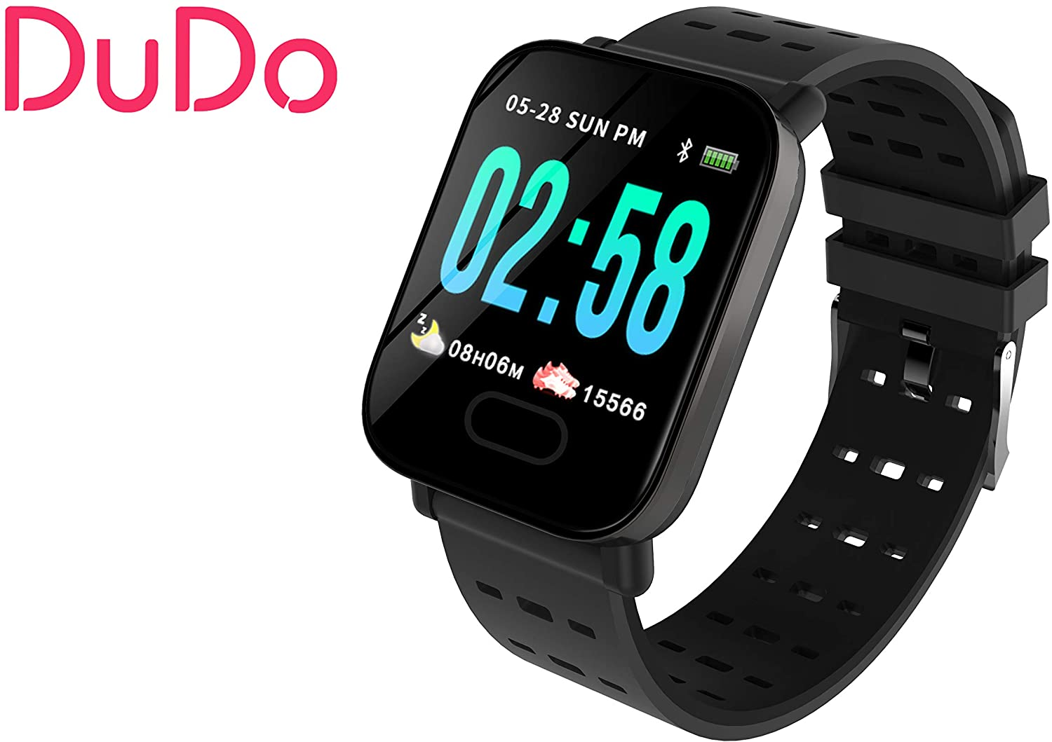 New Smart Watch Men Women DUDO A6 Heart Rate Monitor Blood Pressure Fitness Tracker Smartwatch Sport Watch for iOS Android (Black)
