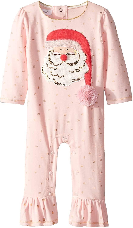 Mud Pie Womens Christmas Santa Ruffle Long Sleeve One-Piece Playwear (Infant)