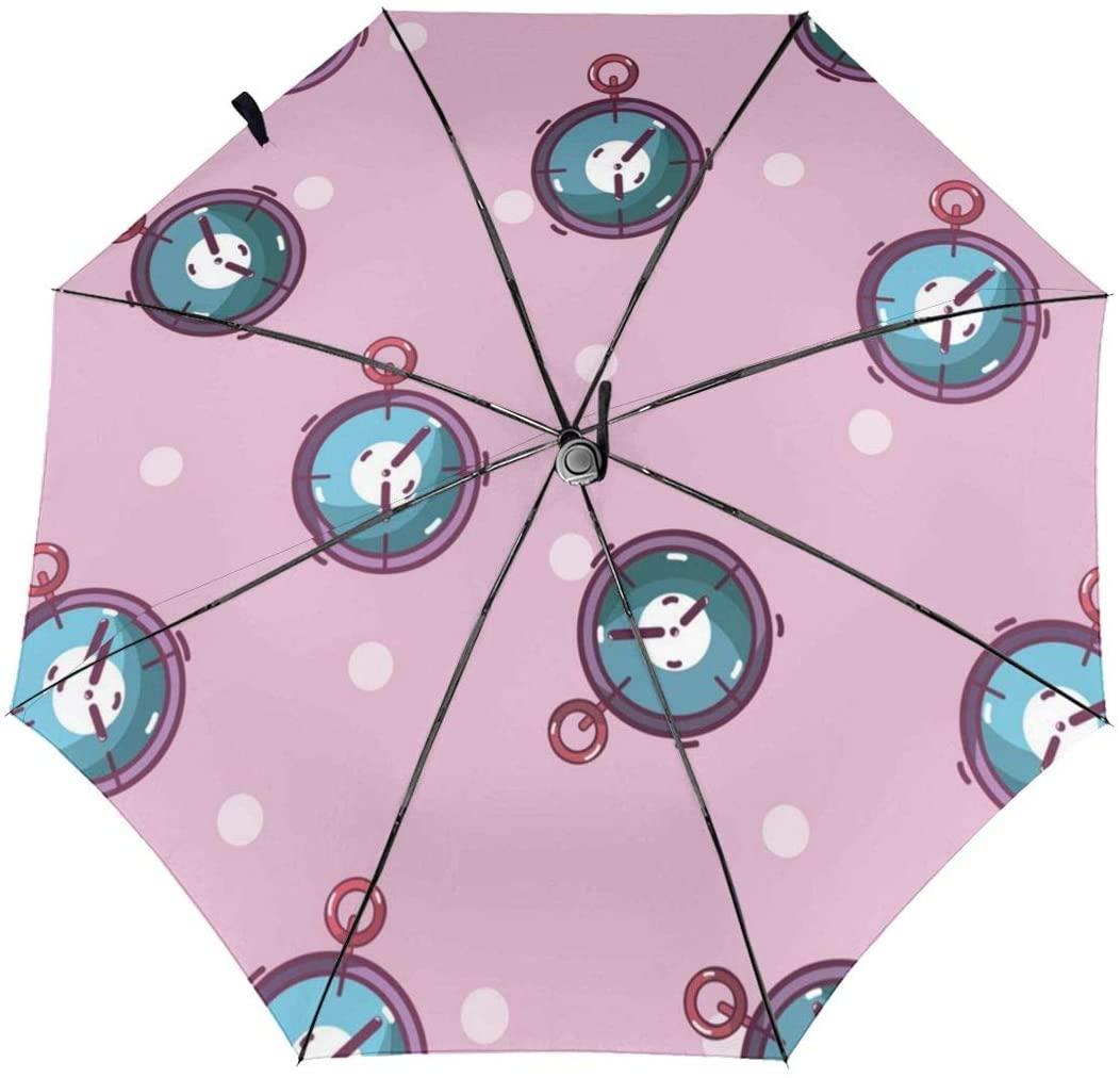 Sport Chronometers Windproof Automatic Folding Umbrella Tri-fold Umbrella