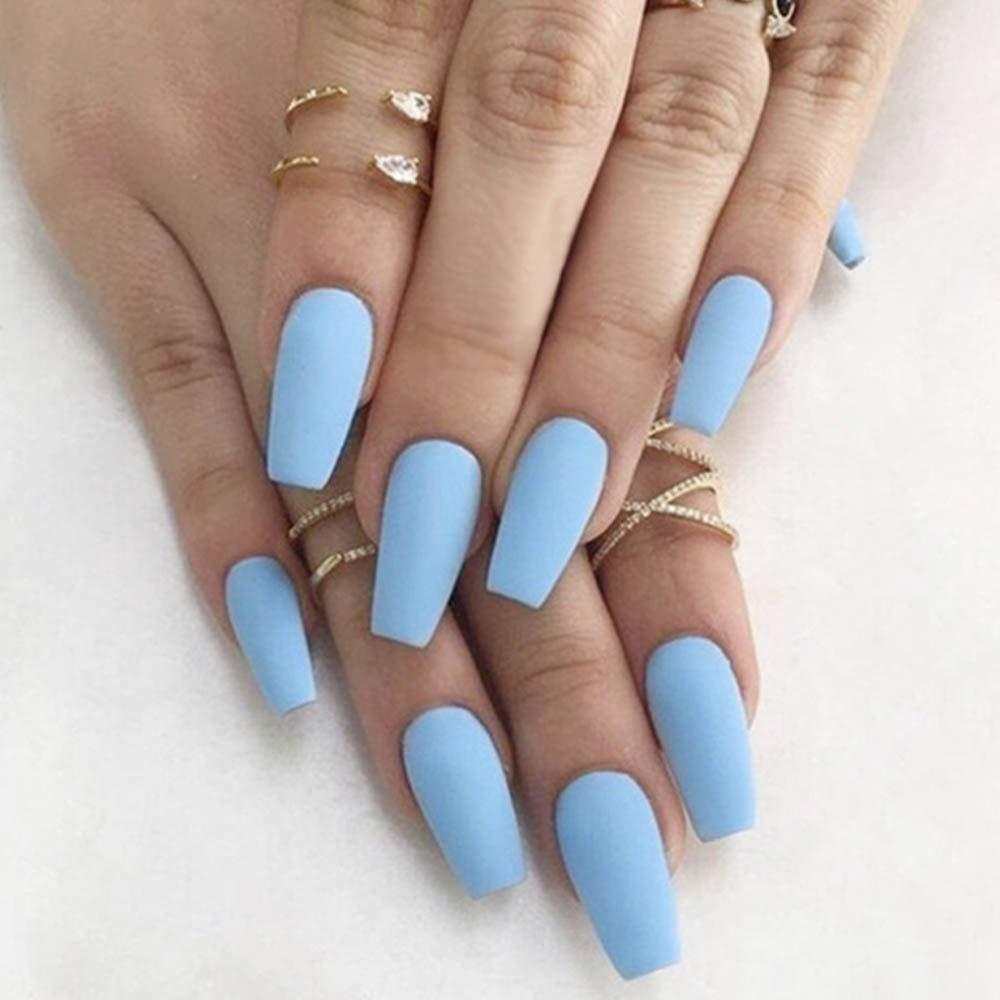 Poliphili 24Pcs Matte Medium Long Coffin Pure Color Removable Wear False Nails Press On Full Coverage Acrylic Fake Nails Tips (Light Blue)