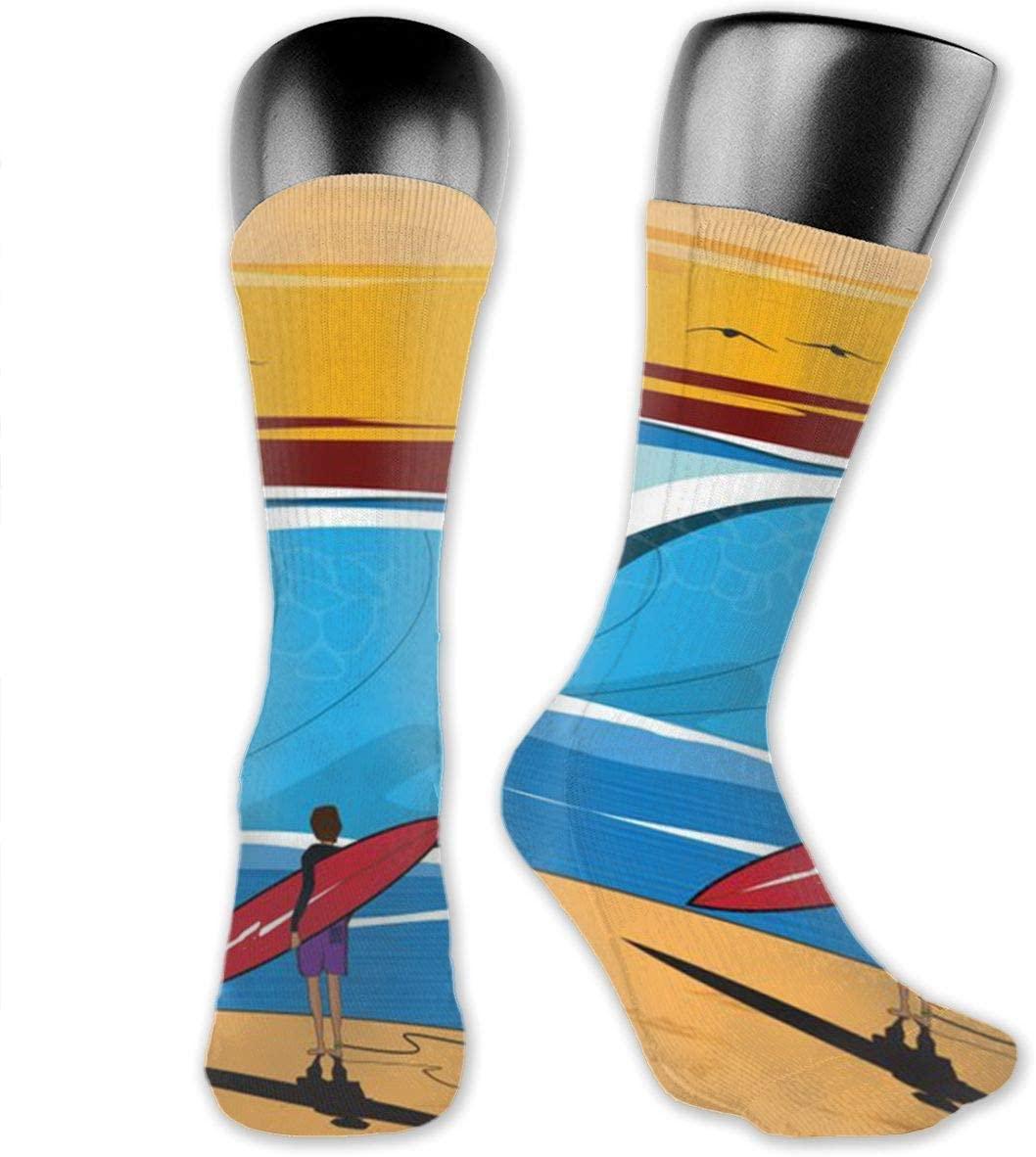 YG1BIIP Surfboard Athletic Crew Socks Compression Socks for Women Men Medical,Athletic,Knee High Graduated Calf Sock - Best for Flight,Travel,Nurses,Running,Sports