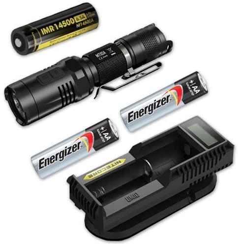 Nitecore MT10A LED Flashlight w/IMR 14500A Battery, UM10 Charger, 2 AA Batteries …