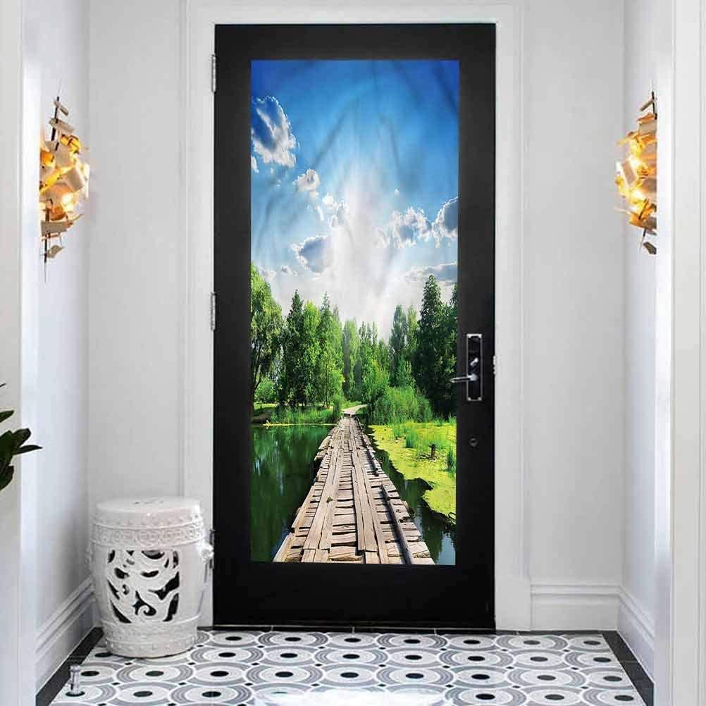 Office Door Privacy Sticker 35.4 x 78.7 inches Home Office Glass Door Sticker,Nature,Wooden Bridge on River
