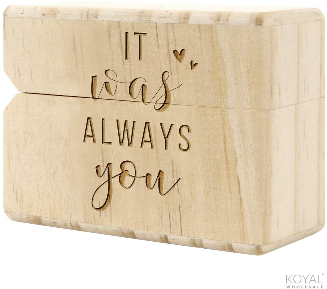 Koyal Wholesale Engraved Real Wood Slim Ring Box, Wedding Engagement Proposal Ring Box, Discreet Thin Ring Box with Hinge (It was Always You)