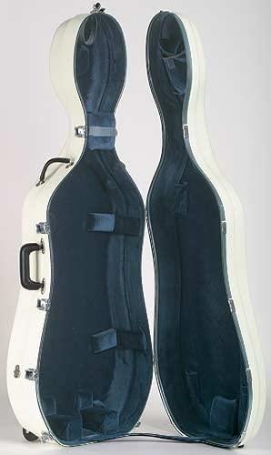 Bobelock 2000W Fiberglass Ivory/Blue 4/4 Cello Case with Wheels